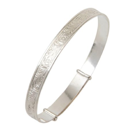 Sterling Silver Wide Scroll Bangles - Teenage to Adult Sizes